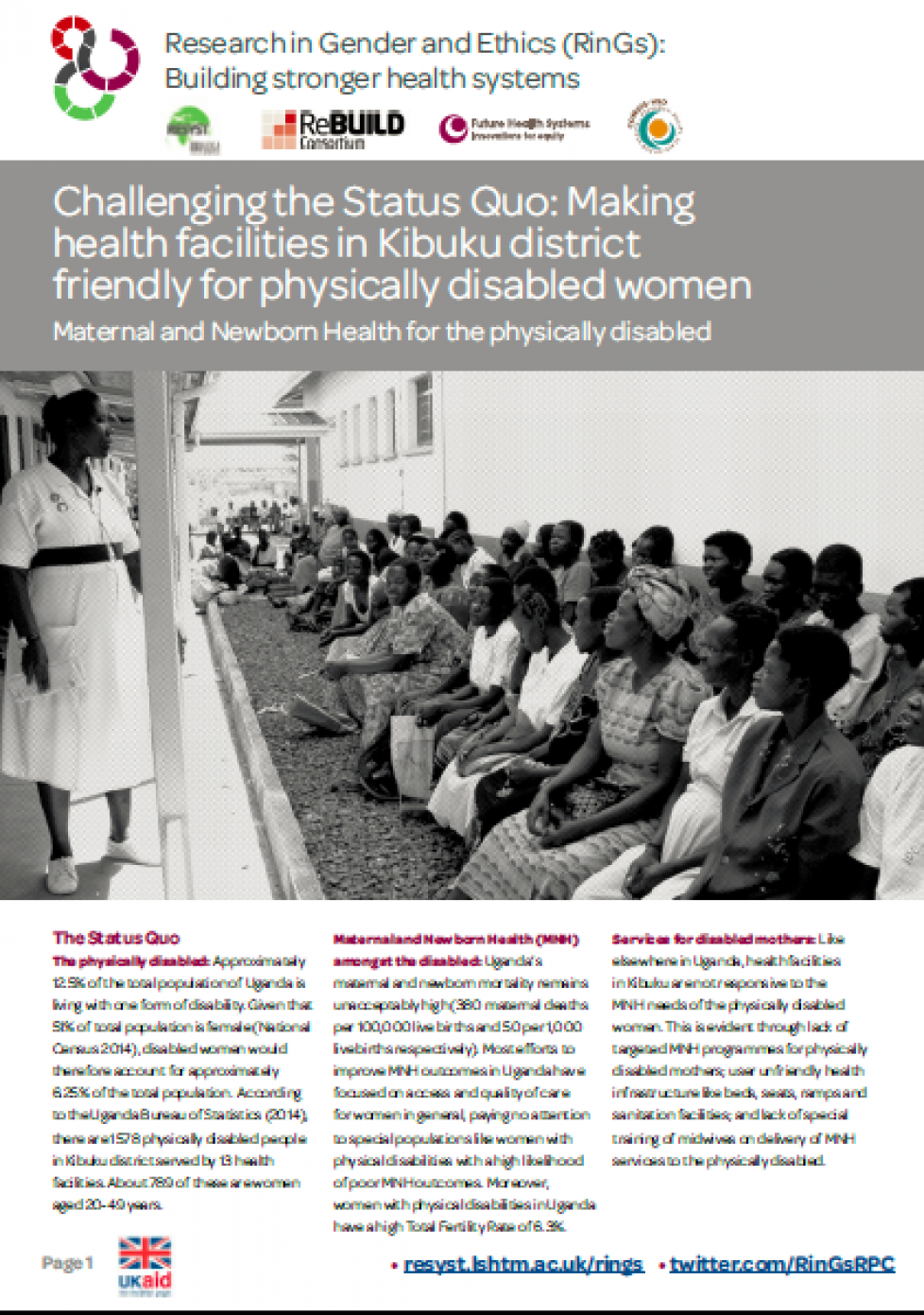 Cover of the brief on disability, gender and access to health facilities in Uganda