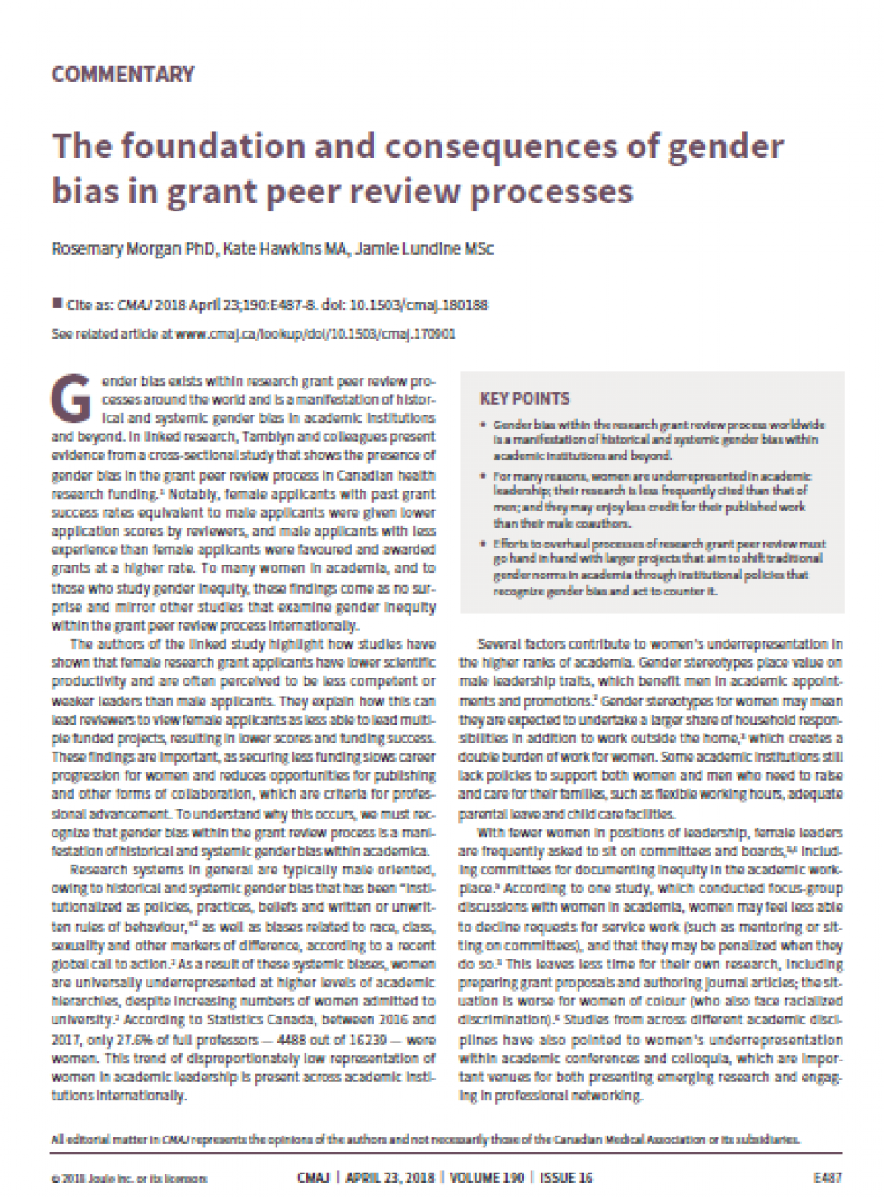 Front page of paper on Consequences gender bias in peer review