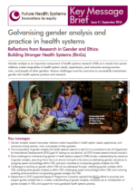 Cover of galvanising gender analysis in health systems research