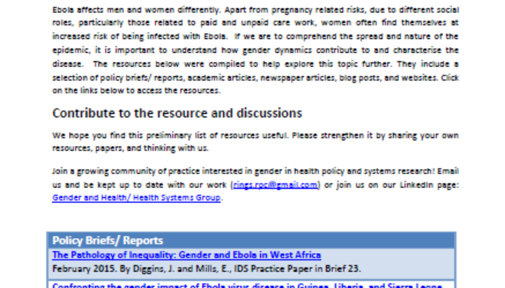 Cover of the Gender and Ebola Resources