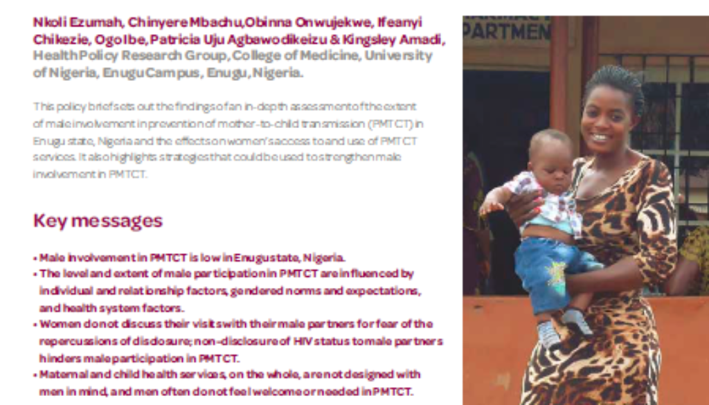 Cover of the brief on Male involvement in PMTCT in Nigeria