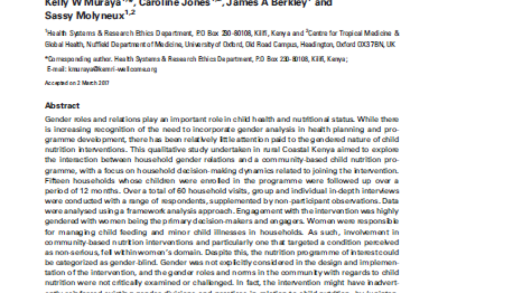 Front page of paper on nutrition, children and gender in Kenya