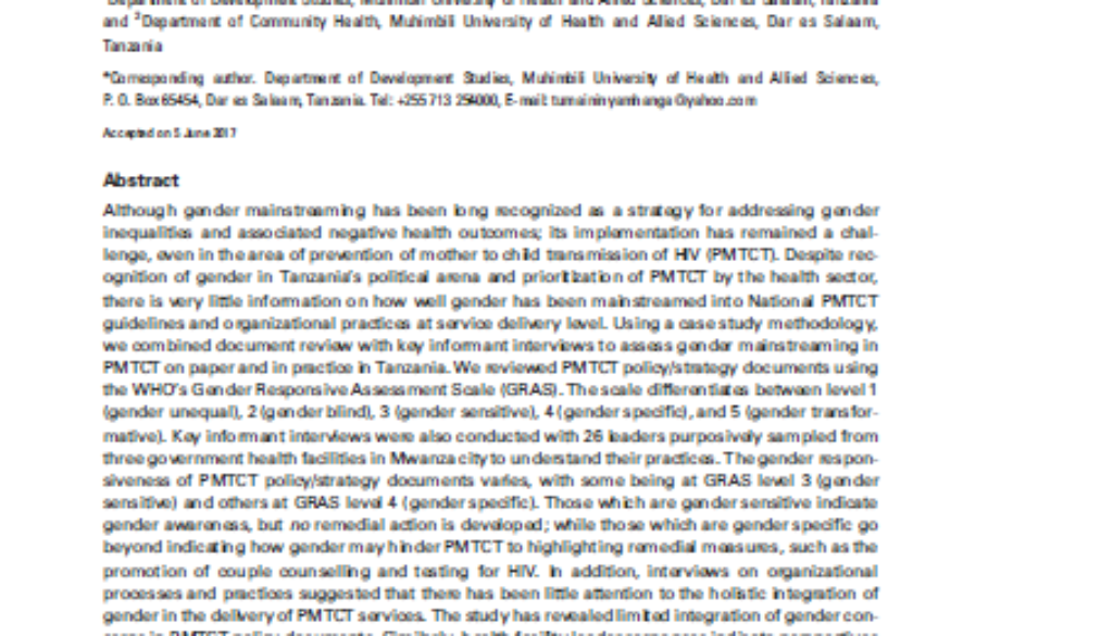 Cover of paper on Tanzania PMTCT and gender mainstreaming