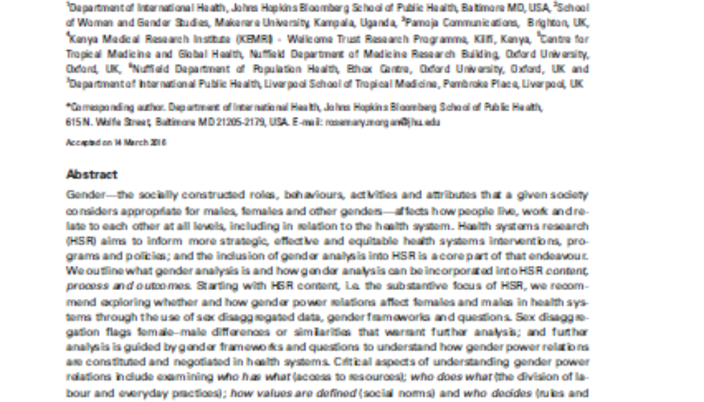 Cover of gender analysis in health systems paper