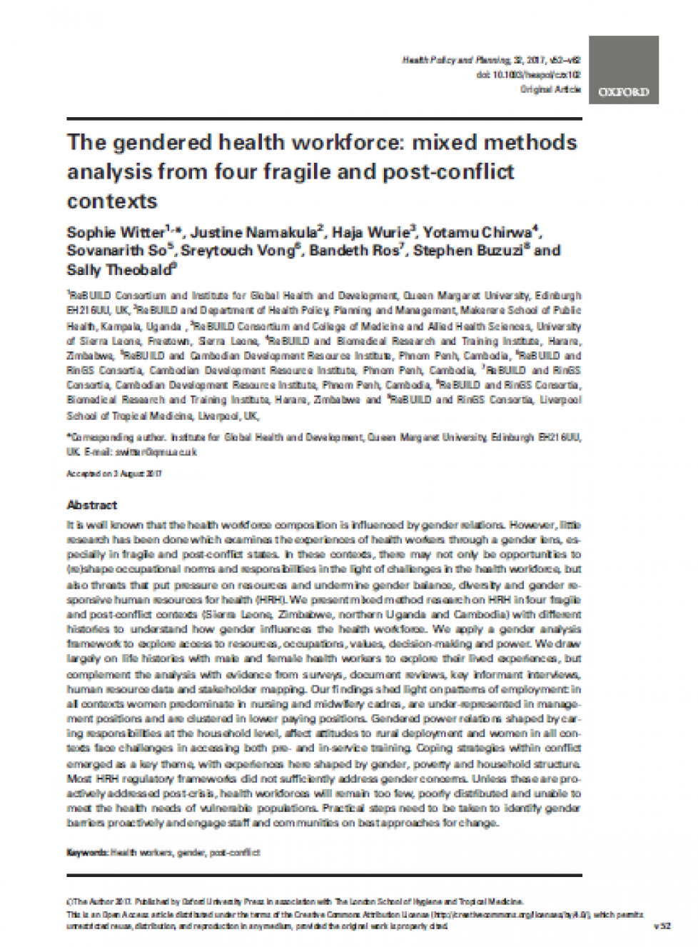 Cover of the paper on the gendered health workforce in fragile and conflict affected settings