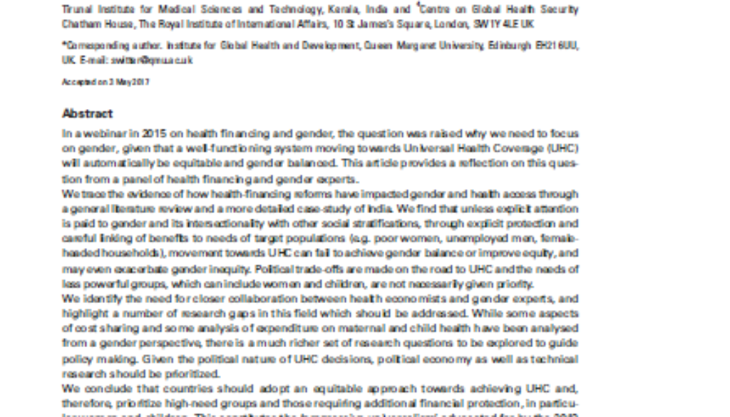 Cover of paper on UHC gender and health financing