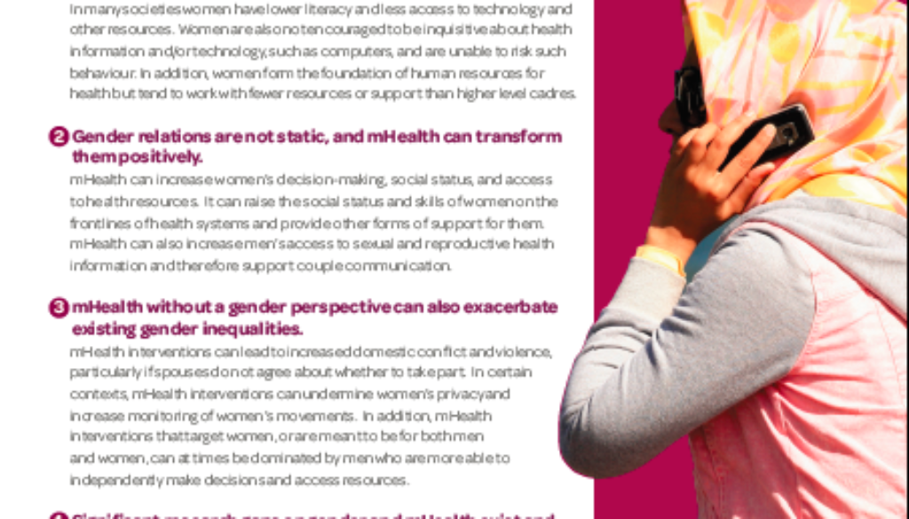 Cover of mhealth and gender brief