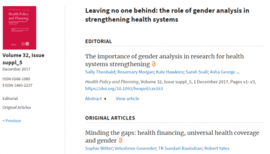supplement of gender and health systems research