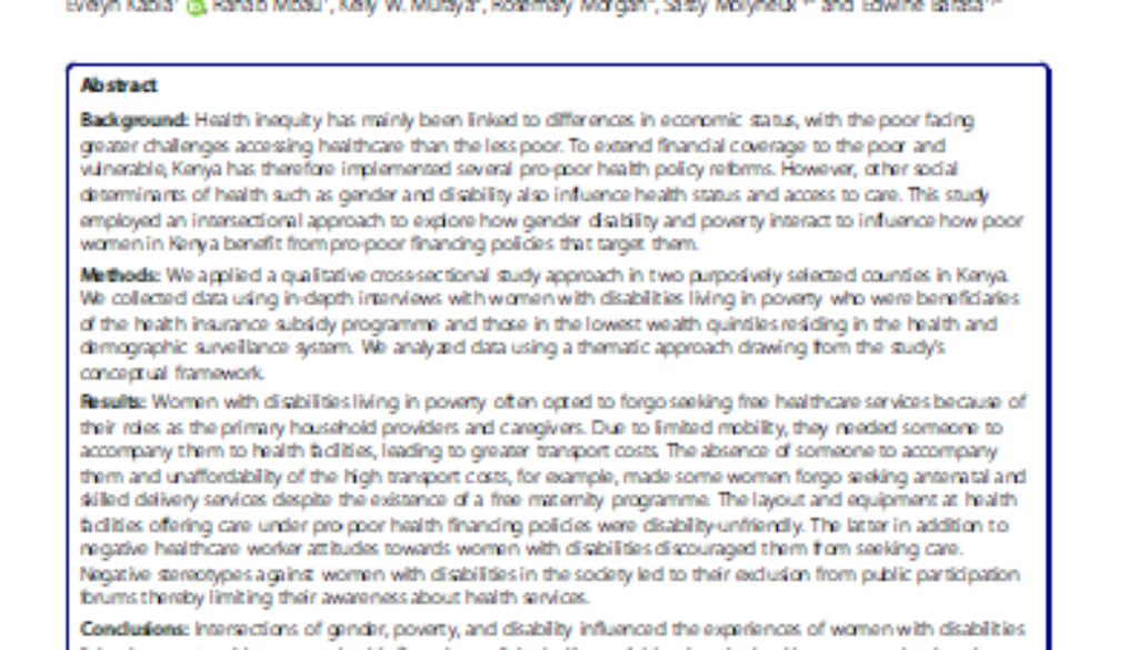 Cover of the paper on health financing, gender and disability in Kenya