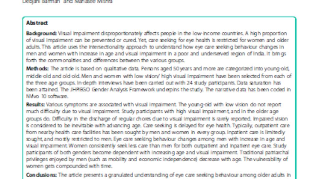 Intersectional analysis eye health India