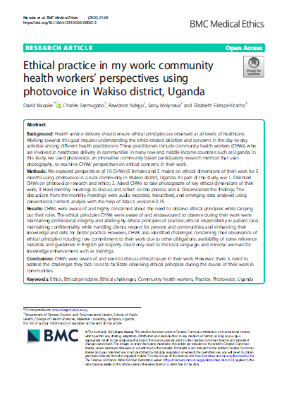 Ethical practice in my work community health workers photovoice